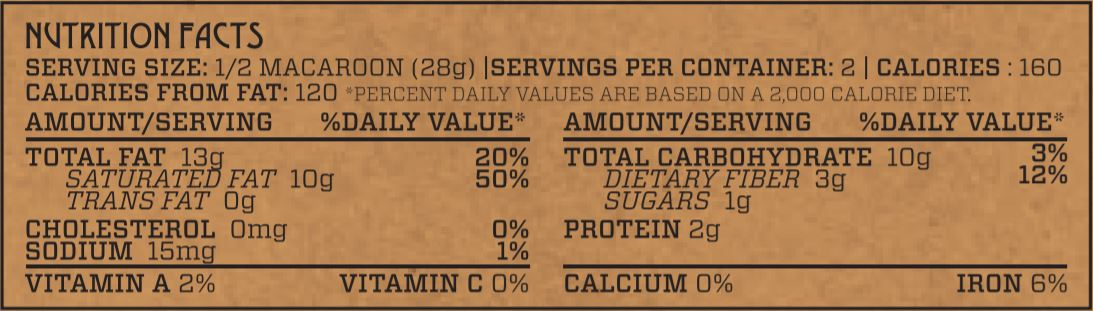 Mint Chocolate Chip Superfood Macaroon Nutrition Facts